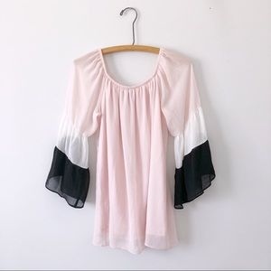 Coco Bianco pink sheer color block blouse